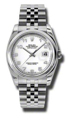 "Image of ""Rolex Datejust 116200 WAJ Steel White Arabic Dial 36mm Watch"""