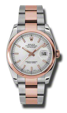 "Image of ""Rolex Datejust Steel and Rose Gold Silver Stick Dial 36mm Watch"""