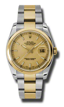 "Image of ""Rolex Datejust Steel and Yellow Gold Champagne Stick Dial 36mm Watch"""