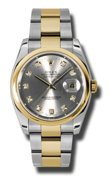 """Image of """"Rolex Datejust Steel and Yellow Gold Grey Diamond Dial 36mm Watch"""""""