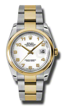 """Image of """"Rolex Datejust Steel and Yellow Gold White Arabic Dial 36mm Watch"""""""
