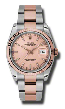 "Image of ""Rolex Datejust Steel and Rose Gold Pink Stick Dial 36mm Watch"""