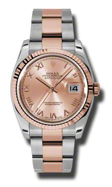 """Image of """"Rolex Datejust Steel and Rose Gold Pink Champagne Roman Dial 36mm"""""""