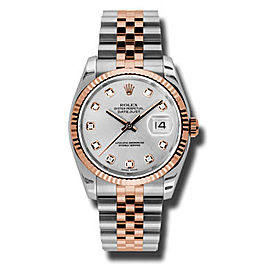 Rolex Datejust Steel and Rose Gold Silver Diamond Dial 36mm Watch