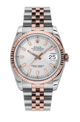 """Image of """"Rolex Datejust Steel and Rose Gold White Stick Dial 36mm Watch"""""""