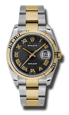 "Image of ""Rolex Datejust 116233 Bkjro Steel and Yellow Gold Black Jubilee Roman"""