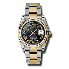 Rolex Datejust 116233 BKSBRO Steel and Yellow Gold Black Sunburst Roman 36mm Watch