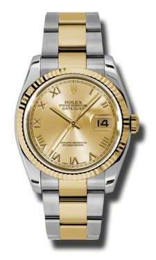 """Image of """"Rolex Datejust 116233 CRO Steel and Yellow Gold Champagne Roman 36mm"""""""