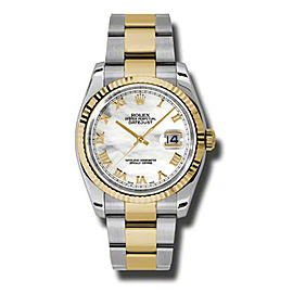 Rolex Datejust 116233 MRO Steel and Yellow Gold Mother of Pearl Roman Dial 36mm Watch
