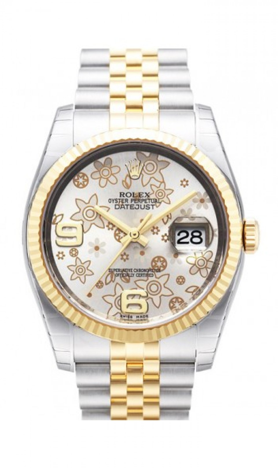 """Image of """"Rolex Datejust Steel and Yellow Gold Silver Floral Arabic Dial 36mm"""""""