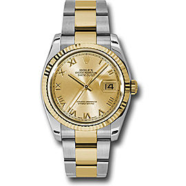 Rolex Datejust 116233 chro Stainless Steel / 18K Yellow Gold with Champagne Roman Dial 36mm Mens Watch