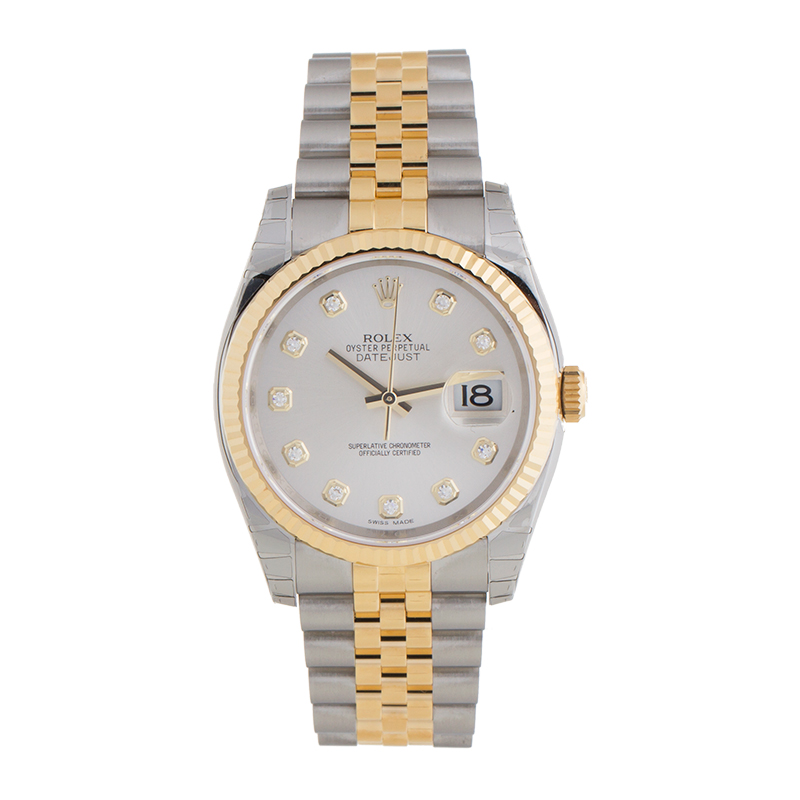 """Image of """"Rolex Datejust 116233 SDJ Steel and Yellow Gold Silver Diamond Dial"""""""