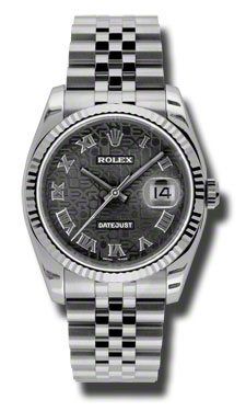 """Image of """"Rolex Datejust Steel and White Gold Black Jubilee Roman Dial 36mm"""""""