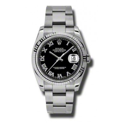 """Image of """"Rolex Datejust 116234 Bkro Steel and White Gold Black Roman Dial 36mm"""""""