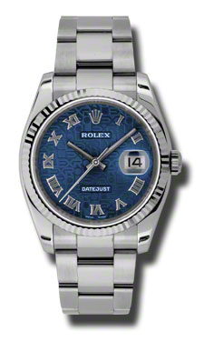 """Image of """"Rolex Datejust Steel and White Gold Blue Jubilee Roman Dial 36mm Watch"""""""