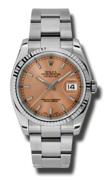 """Image of """"Rolex Datejust Pink Dial Stainless Steel Oyster Bracelet 18K White"""""""