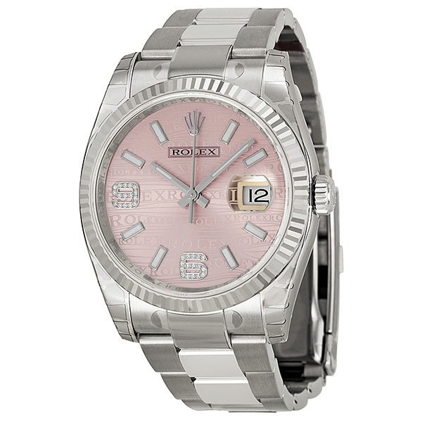 """Image of """"Rolex Datejust Steel and White Gold Pink Wave Diamond Dial 36mm Watch"""""""