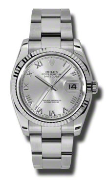 "Image of ""Rolex Datejust Steel and White Gold Rhodium Roman Dial 36mm Watch"""