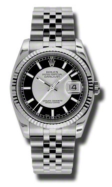 "Image of ""Rolex Datejust Steel and White Gold Silver and Black Dial 36mm Watch"""