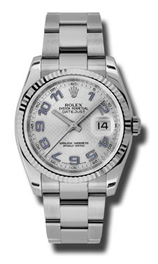 "Image of ""Rolex Datejust Steel and White Gold Silver Decorated with Blue Arabic"""