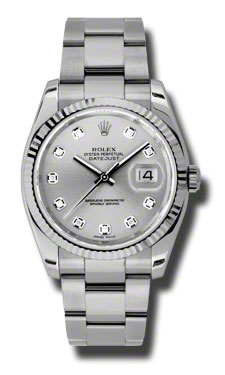 """Image of """"Rolex Datejust Steel and White Gold Silver Diamond Dial 36mm Watch"""""""