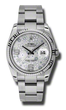 "Image of ""Rolex Datejust Steel and White Gold Silver Floral Dial 36mm Watch"""