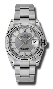 "Image of ""Rolex Datejust Steel and White Gold Silver and Steel Dial 36mm Watch"""