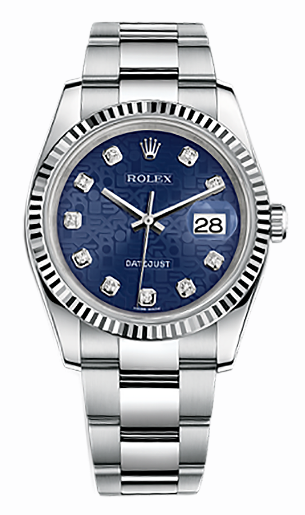 """Image of """"Rolex Datejust Steel and White Gold Blue Jubilee Diamond Dial 36mm"""""""