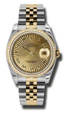 """Image of """"Rolex Datejust Steel and Yellow Gold Champagne Sunbeam Dial 36mm Watch"""""""