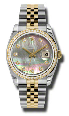 "Image of ""Rolex Datejust Steel and Yellow Gold Dark Mother of Pearl Diamond"""