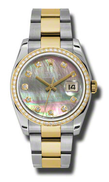 "Image of ""Rolex Datejust Steel and Yellow Gold Dark Mother of Pearl Diamond Dial"""