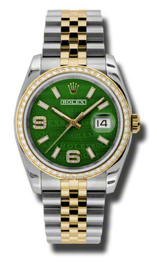"Image of ""Rolex Datejust Steel and Yellow Gold Green Wave Dial 36mm Watch"""