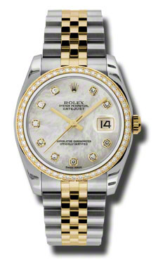"Image of ""Rolex Datejust Steel and Yellow Gold Mother of Pearl Diamond Dial 36mm"""
