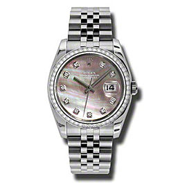 Rolex Datejust Steel and White Gold Dark Mother of Pearl Diamond Dial 36mm Watch