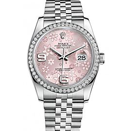 Rolex Datejust Steel and White Gold Pink Floral Arabic Dial 36mm Watch