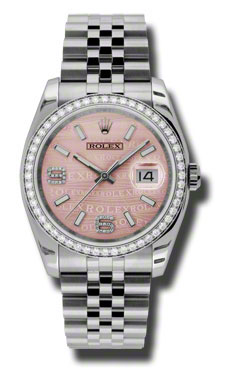 "Image of ""Rolex Datejust Steel and White Gold Pink Wave Diamond Arabic Dial 36mm"""