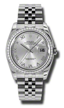 "Image of ""Rolex Datejust Steel and White Gold Silver Roman Dial 36mm Watch"""