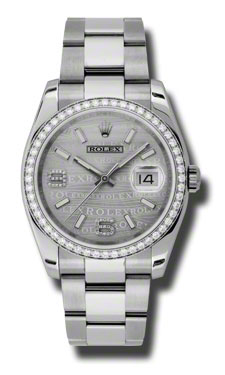 """Image of """"Rolex Datejust Steel and White Gold Silver Wave Diamond Arabic Dial"""""""