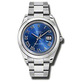 Rolex Datejust II 116300 BLRO Steel Blue Dial 41mm Watch