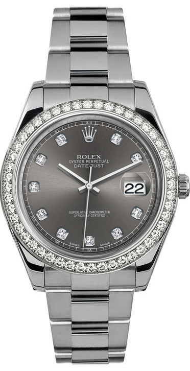 "Image of ""Rolex 41mm Datejust II Stainless Steel 116334 Custom Rhodium Diamond"""