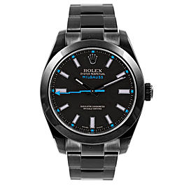 Rolex Milgauss 116400 DLC-PVD Stainless Steel Oyster Black Dial Automatic 40mm Mens Watch