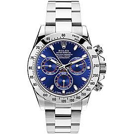 Rolex Pre Owned Steel Daytona 116520 Custom Blue Watch