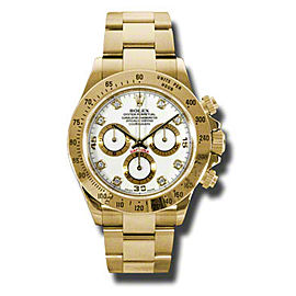 Rolex Daytona Yellow Gold White Diamond Dial 40mm Watch