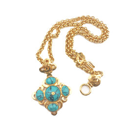 Chanel Gold Tone Argyle CC Turquoise Long Necklace