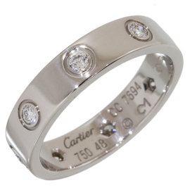 Cartier 18K White Gold 8P Diamonds Mini Love Ring Size 4.5