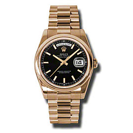 Rolex Day-Date President Rose Gold Black Dial 36mm Watch