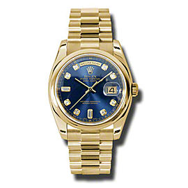 Rolex Day-Date President Yellow Gold Blue Diamond Dial 36mm Watch