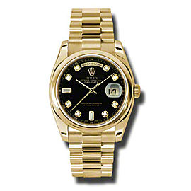 Rolex Day-Date President Yellow Gold Black Diamond Dial 36mm Watch