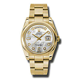 Rolex Day-Date President Yellow Gold Mother of Pearl Diamond Dial 36mm Watch