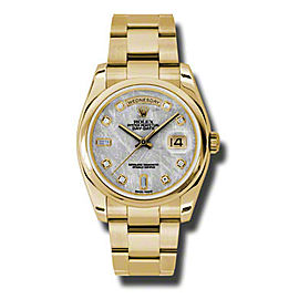 Rolex Day-Date President Yellow Gold Meteorite Diamond Dial 36mm Watch